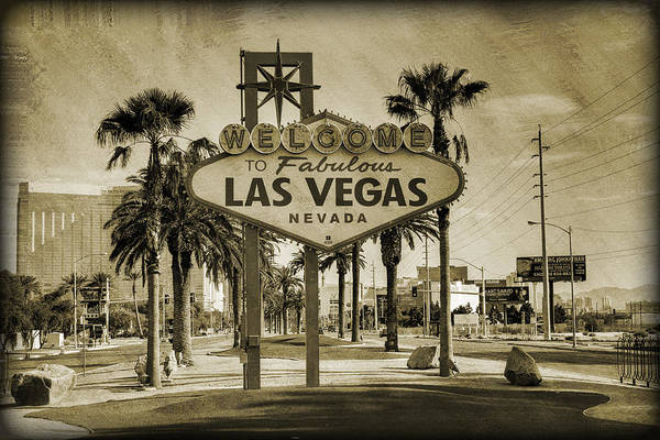 Las Art Print featuring the photograph Welcome To Las Vegas Series Sepia Grunge by Ricky Barnard