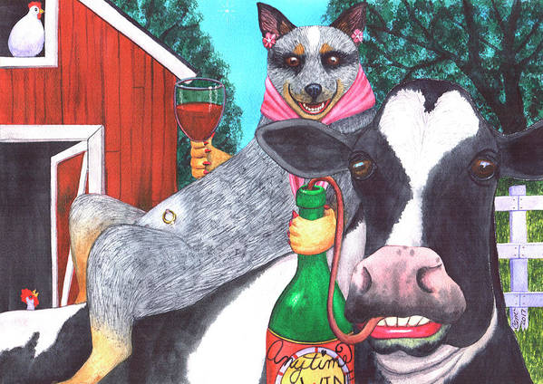 Wine Art Print featuring the painting We'll be wining til all the cows come home by Catherine G McElroy
