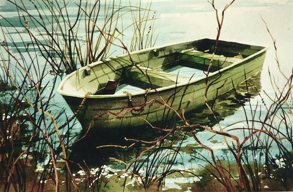 Rowboat In Water Art Print featuring the painting Wet 'n Waiting by Art Scholz