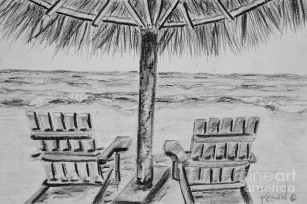 Ocean Adirondack Chairs Art Print featuring the drawing Where I Want to Be by Regan J Smith