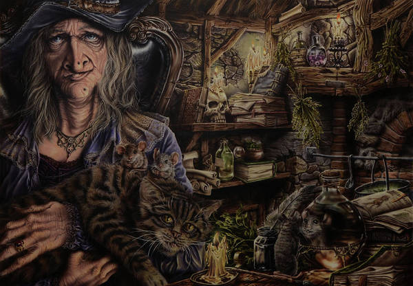 Fantasy Art Print featuring the painting Which witch is which by Robert Haasdijk