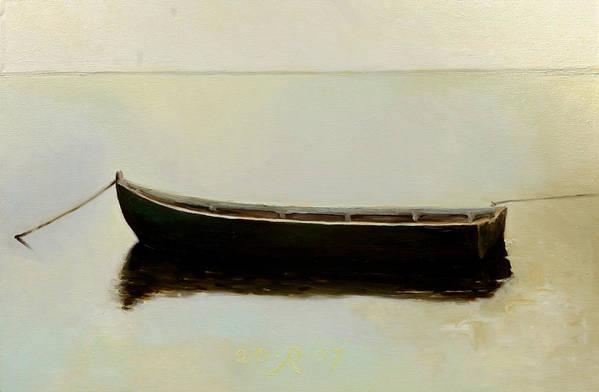 Landscape Boat Quiet Light Art Print featuring the painting White Day by Raimonda Jatkeviciute-Kasparaviciene