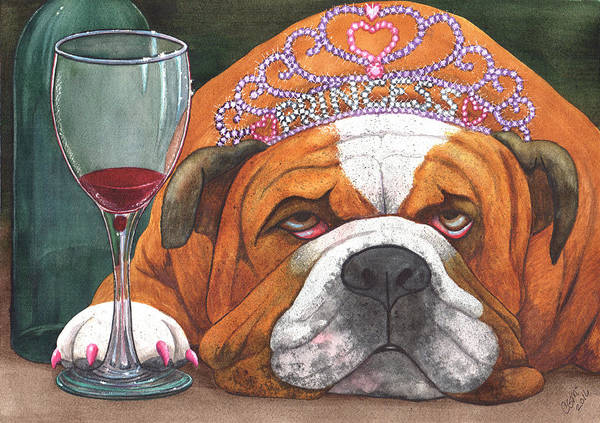 Bulldog Art Print featuring the painting Wining Princess by Catherine G McElroy