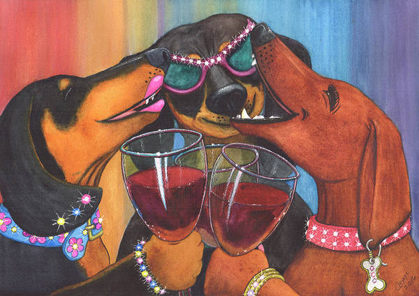 Dog Art Print featuring the painting Wining Wieners by Catherine G McElroy