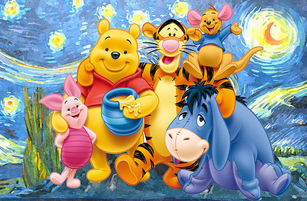 Winnie The Pooh Starry Night Art Print featuring the digital art Winnie the Pooh Starry Night by Midex Planet