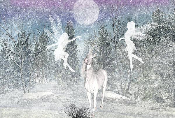 Winter Fairy Magic Fairies Art Print featuring the digital art Winter fairy Magic by Lisa Roy