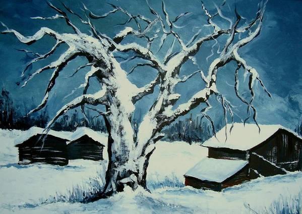 Landscape Art Print featuring the painting Winter Landscape 571008 by Veronique Radelet