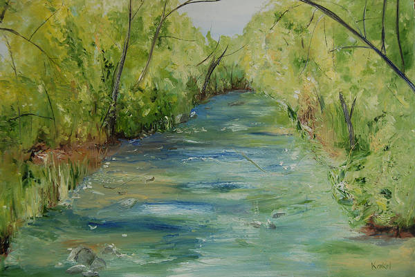 Konkol Art Print featuring the painting Wisconsin Stream by Lisa Konkol