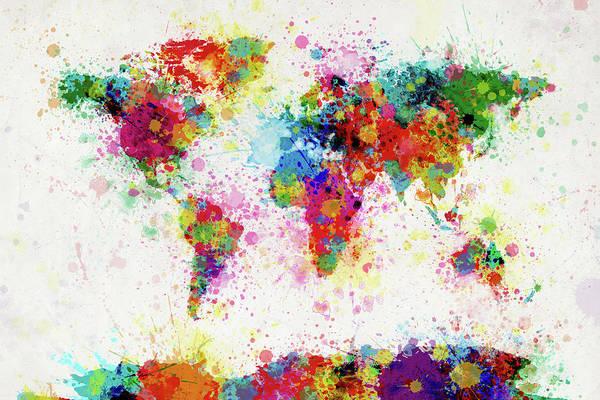 World Map Paint Splashes Art Print featuring the digital art World Map Paint Drop by Michael Tompsett