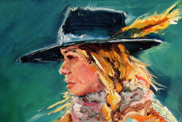 Cowgirl Art Print featuring the painting Wyoming Cowgirl Close by Diane Whitehead