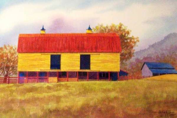 Landscape Art Print featuring the painting Yellow Barn by Hugh Harris