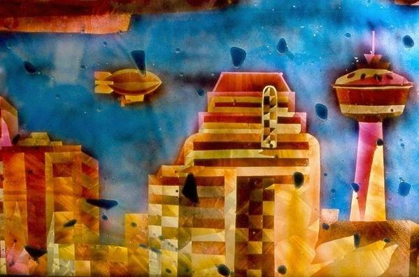 Landscape Art Print featuring the painting Zepplins detail by Rick Silas