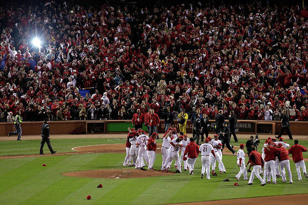 St. Louis Cardinals Art Print featuring the photograph 2011 World Series Game 7 - Texas by Rob Carr