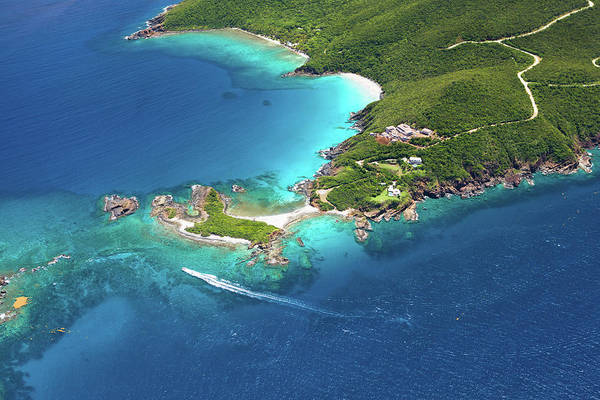 Water's Edge Art Print featuring the photograph Aerial Shot Of West End, St. Thomas, Us by Cdwheatley