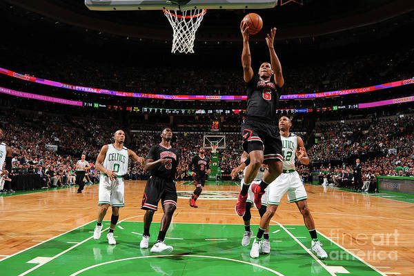 Playoffs Art Print featuring the photograph Chicago Bulls V Boston Celtics - Game by Brian Babineau