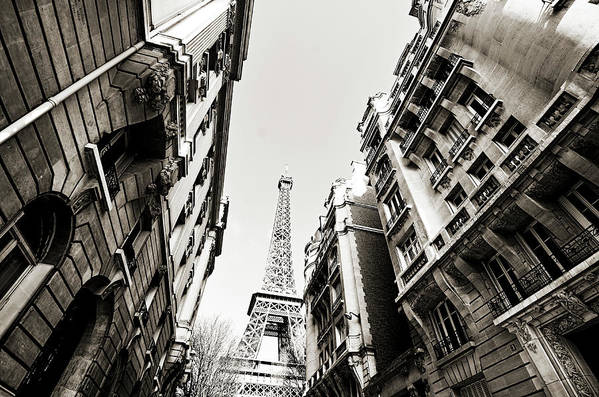 Built Structure Art Print featuring the photograph Eiffel Tower Between Buildings In by Flory