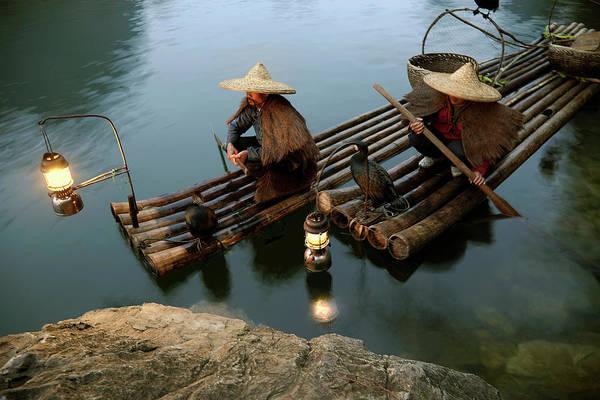 Yangshuo Art Print featuring the photograph Fishing With Cormorants by Kingwu