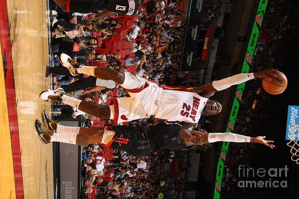 Nba Pro Basketball Art Print featuring the photograph Houston Rockets V Miami Heat by Oscar Baldizon