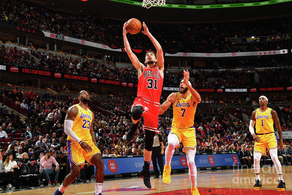 Nba Pro Basketball Art Print featuring the photograph Los Angeles Lakers V Chicago Bulls by Jesse D. Garrabrant