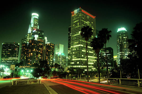 Downtown District Art Print featuring the photograph Los Angeles Skyline At Night by Hisham Ibrahim