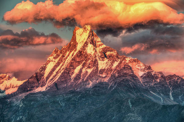 Tranquility Art Print featuring the photograph Machapuchare Mountain, Fish Tail In by Emad Aljumah