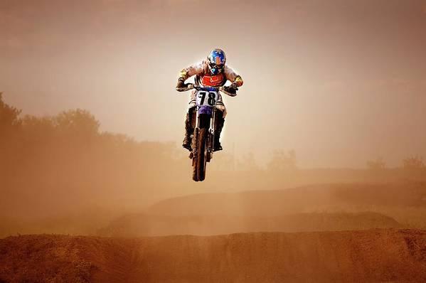 Crash Helmet Art Print featuring the photograph Motocross Rider by Design Pics