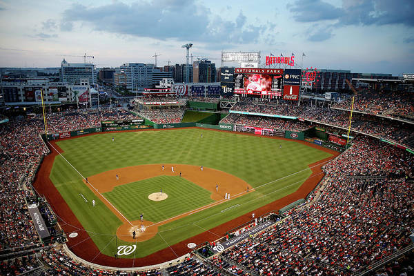American League Baseball Art Print featuring the photograph New York Mets V Washington Nationals by Rob Carr