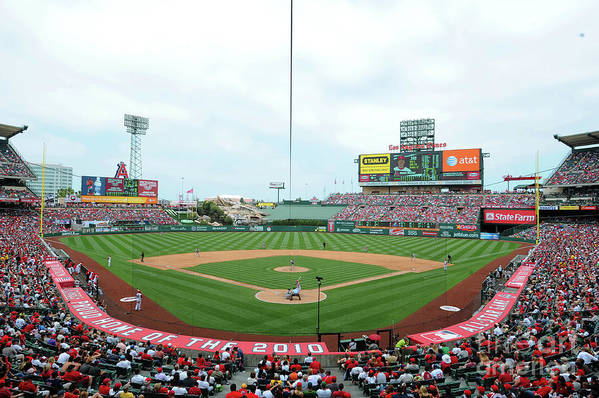 American League Baseball Art Print featuring the photograph Oakland Athletics V Los Angeles Angels by Rich Pilling