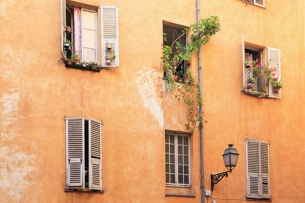 Orange Color Art Print featuring the photograph Old Town Of Nice, French Riviera, France by Aprott