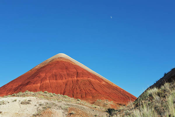 Scenics Art Print featuring the photograph Painted Hills Desert With Quarter Moon by Sasha Weleber