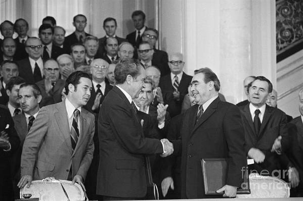 Trading Art Print featuring the photograph President Richard Nixon And Premier by Bettmann