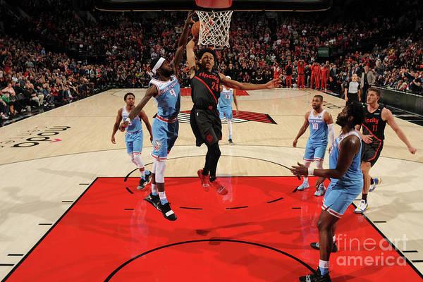 Nba Pro Basketball Art Print featuring the photograph Sacramento Kings V Portland Trail by Cameron Browne