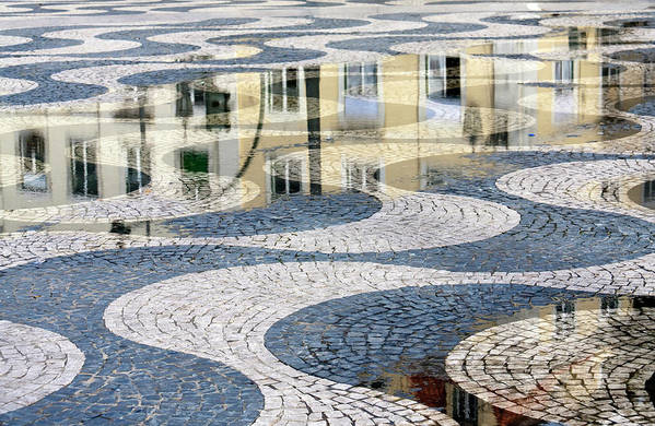 Curve Art Print featuring the photograph Sidewalk In Lisbon, Portugal by Typo-graphics