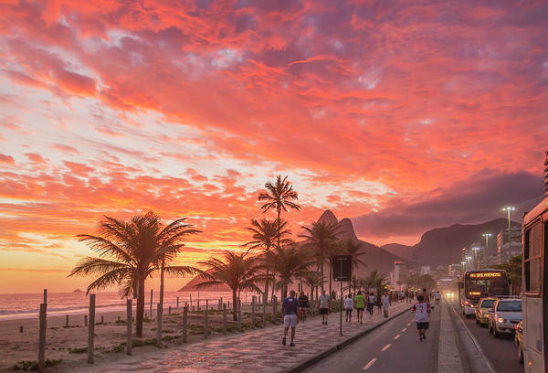 Majestic Art Print featuring the photograph Sunset Over Ipanema Beach by Buena Vista Images