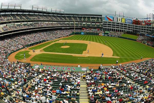 American League Baseball Art Print featuring the photograph Tigers V Rangers by Ronald Martinez