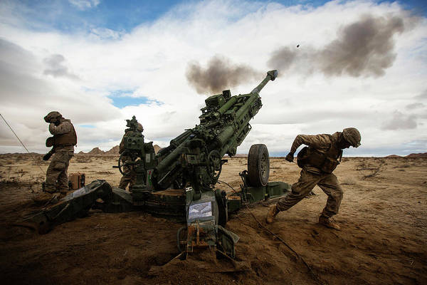 Boom Art Print featuring the photograph U.s. Marines Fire The M777-a2 Howitzer by Stocktrek Images