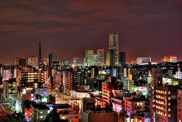 Tranquility Art Print featuring the photograph Yokohama Nightscape by Copyright Artem Vorobiev