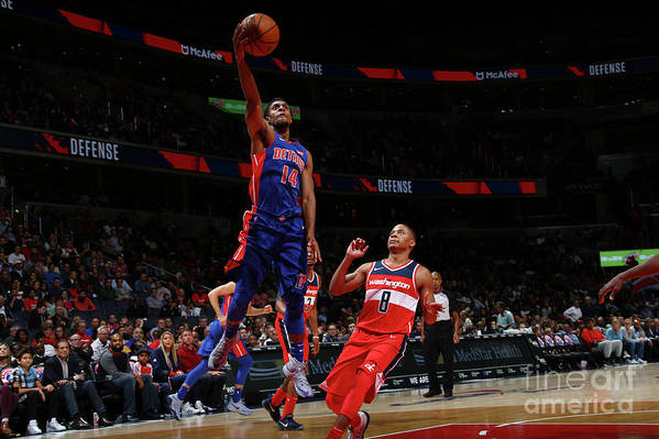 Nba Pro Basketball Art Print featuring the photograph Detroit Pistons V Washington Wizards by Ned Dishman