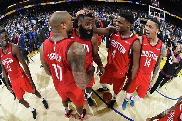 Nba Pro Basketball Art Print featuring the photograph Houston Rockets V Golden State Warriors by Andrew D. Bernstein