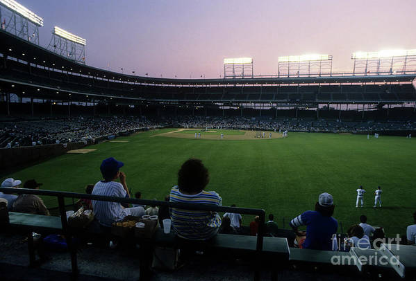 1980-1989 Art Print featuring the photograph Philadelphia Phillies V Chicago Cubs by Jonathan Daniel