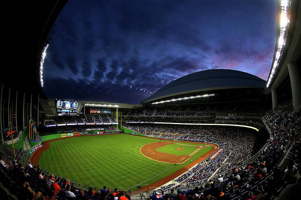 American League Baseball Art Print featuring the photograph Colorado Rockies V Miami Marlins by Mike Ehrmann