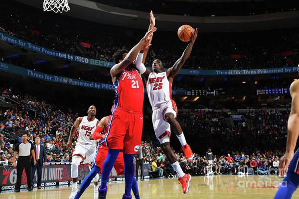 Nba Pro Basketball Art Print featuring the photograph Miami Heat V Philadelphia 76ers by Jesse D. Garrabrant