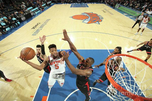 Nba Pro Basketball Art Print featuring the photograph Toronto Raptors V New York Knicks by Nathaniel S. Butler