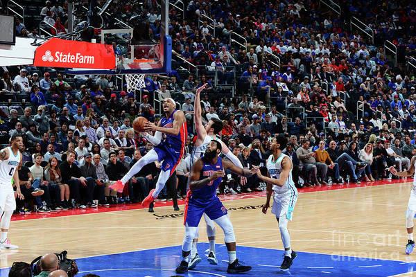 Nba Pro Basketball Art Print featuring the photograph Charlotte Hornets V Detroit Pistons by Chris Schwegler