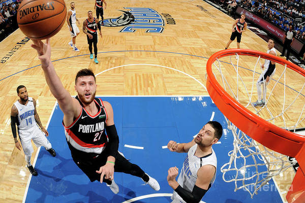 Jusuf Nurkić Art Print featuring the photograph Portland Trail Blazers V Orlando Magic by Fernando Medina