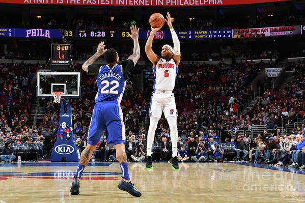 Nba Pro Basketball Art Print featuring the photograph Detroit Pistons V Philadelphia 76ers by Jesse D. Garrabrant