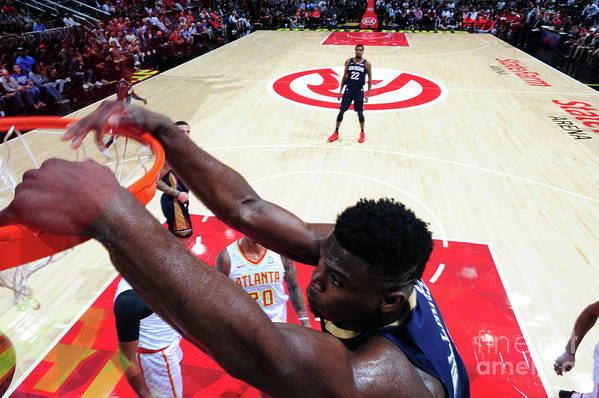 Atlanta Art Print featuring the photograph New Orleans Pelicans V Atlanta Hawks by Scott Cunningham