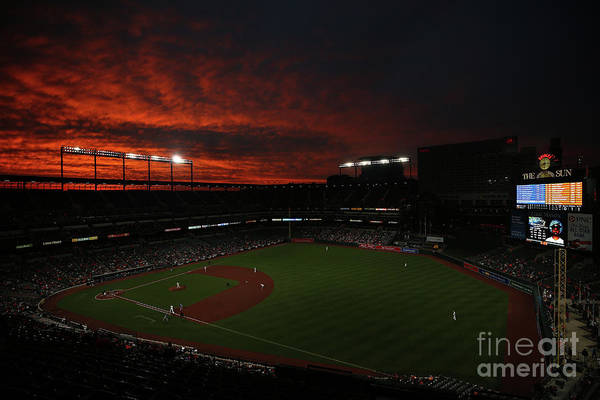 American League Baseball Art Print featuring the photograph Toronto Blue Jays V Baltimore Orioles by Patrick Smith