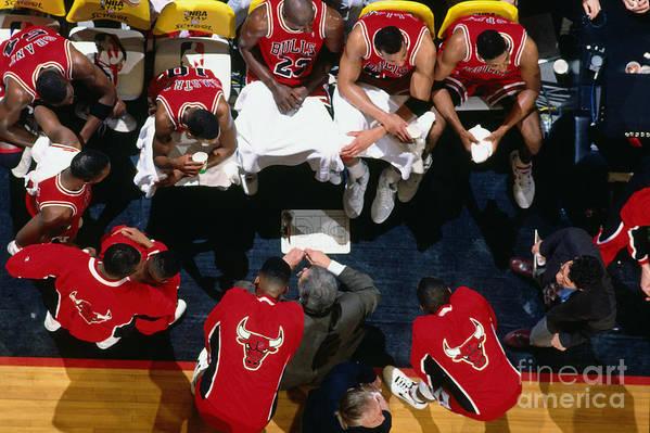 Chicago Bulls Art Print featuring the photograph 1992 Nba Finals Portland Trailblazers by Brian Drake