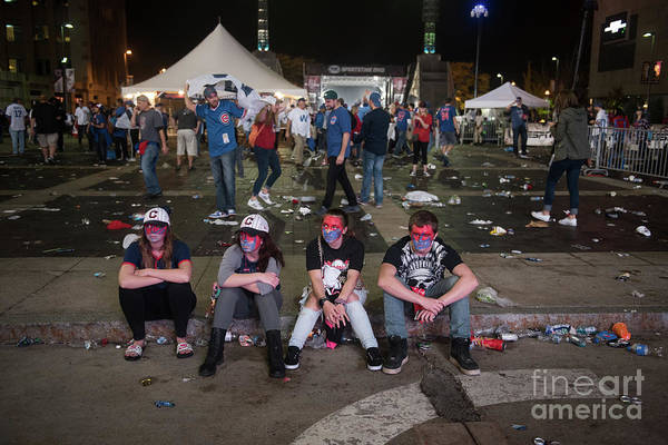 Sport Art Print featuring the photograph Cleveland Indians Fans Gather To The by Justin Merriman